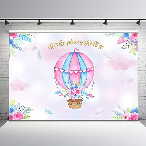 Mehofoto Hot Air Balloon Backdrop Adventure Baby Shower Photo Background for Girls' Birthday Party 7x5ft Hot Air Balloon Baby Shower Backdrops for Photoshoot -