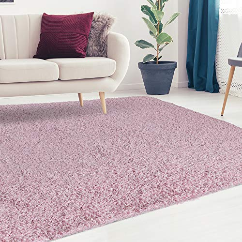 (iCustomRug Cozy and Soft Solid Shag Rug 5X7 Blush Pink Ideal to Enhance Your Living Room and Bedroom Decor)