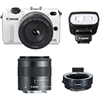 Canon EOS M2 Camera w/ EF-M 22MM f/2, 18-55MM F/3.5-5.6 IS EF-M Lens, 90EX Flash & EF-M Adapter (White) - International Version (No Warranty) Noticeable Review Image