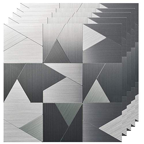 IHClink 5 Piece Peel and Wall Stick Wall Tile Metal Backsplash for Kitchen,Silver Aluminum Surface (Pattern 2) - Backsplashes Metal Tile