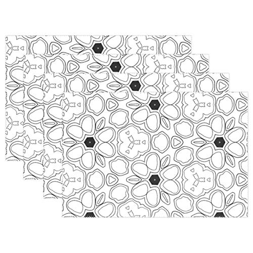 Promini Heat-Resistant Placemats, Pattern Zentangle Handdrawn Design Doodle Ornament Washable Polyester Table Mats Non Slip Washable Placemats for Kitchen Dining Room Set of 4