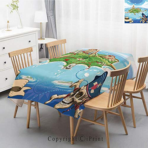 Print Series Rectangle Tablecloth Cotton and Linen Dust proof Absorption Table Cover for Photography Background Dining,55x102 Inch,Island Map,Aerial View Fantasy Pirate Cove Island with Crossbones and (Map Photography Aerial)
