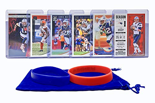 New England Patriots Cards: Tom Brady, Rob Gronkowski, Devin McCourty, Julian Edelman, Josh Gordon, James White ASSORTED Trading Cards and Wristbands Bundle