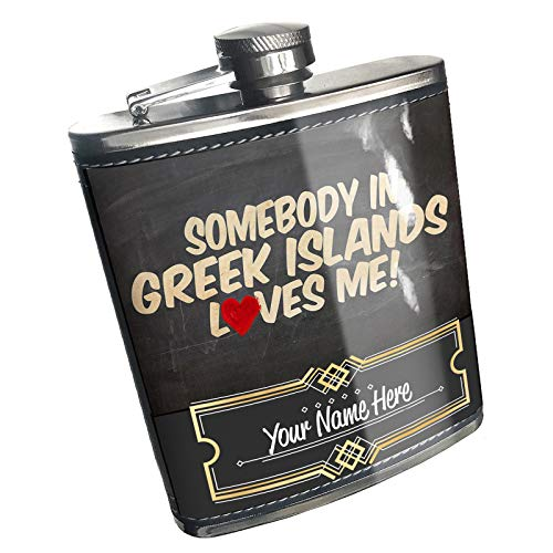 Neonblond Flask Somebody in Greek Islands Loves me, Greece Custom Name Stainless Steel