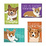 Pop Doggie Pembroke Welsh Corgi Refrigerator Magnets with Funny Sayings (Set of 4)