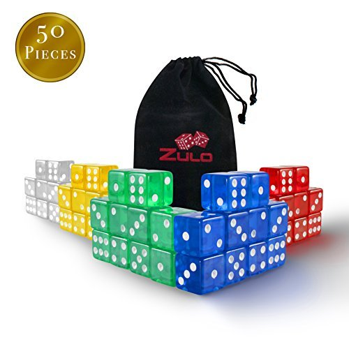 Zulo Dice-50-C 6-Sided Set for Games, Teachers 5 Different Colors-16mm Dice Great for Kids Math, Learning, Manipulatives (50 Piece)
