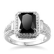 Nongkhai shop Women Fashion Jewelry 925 Sterling Silver Black Onyx Wedding Engagement Ring (7)