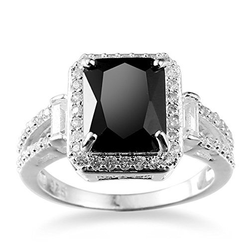 Nongkhai shop Women Fashion Jewelry 925 Sterling Silver Black Onyx Wedding Engagement Ring (7) (Women Jewelry For Sterling Silver)