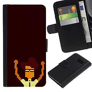 Nerd Pixel - la tarjeta de Crédito Slots PU Funda de cuero Monedero caso cubierta de piel Para Samsung Galaxy S6