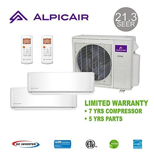 AlpicAir +Multi Dual-Zone Ductless Mini-Split System 18,000