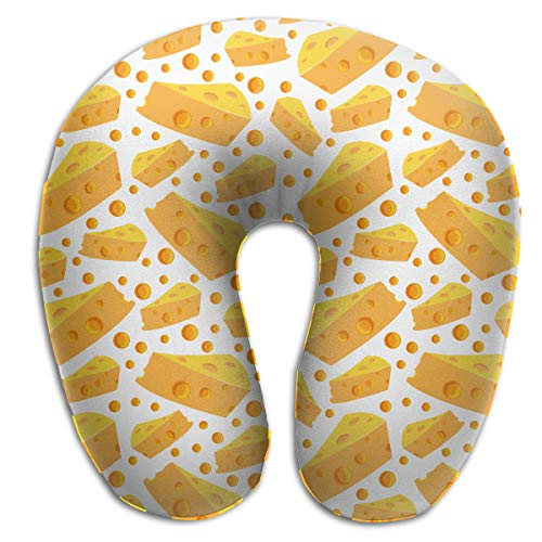NiYoung Cheese Holes Black Pattern Neck Pillow Neck Support Compact Neck Pillow Soft Memory Foam Sleeping Rest Cushion for Travel Car Train, Machine Washable Breathable & -