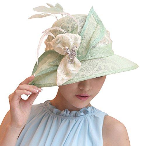 June's Young Femmes Eléglant Chapeau en Coton de Chanvre Mariage/Plage/Voyage/Antisolaire/Cocktail Vert