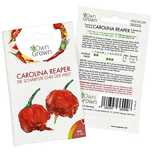 Chili Samen Carolina Reaper: Die schärfste Chili der Welt - Premium Carolina Reaper Samen zum Anbau von Chili Pflanzen für Balkon und Garten – 5 Chilli Samen für frische Chilipflanzen von OwnGrown