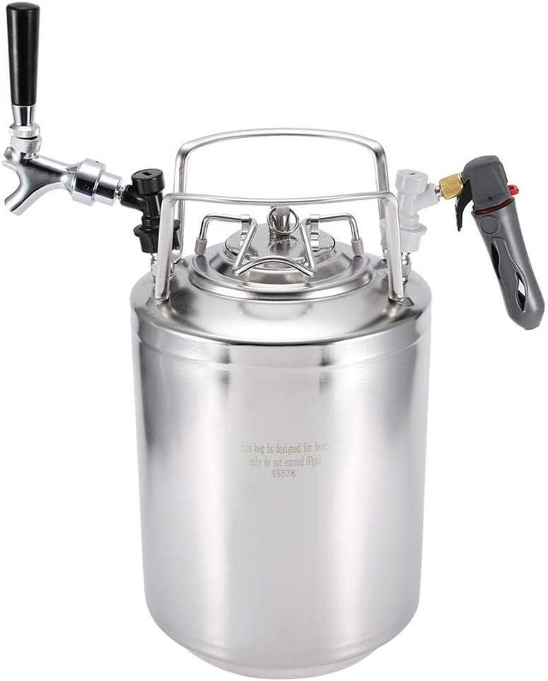 Sistema de barril de cerveza a presión, Barril de acero inoxidable para cerveza Coca-Cola Dispensador de bebidas con kit de grifo no ajustable Sistema de preparación casera(12L)