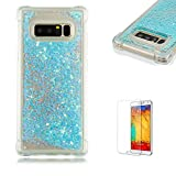 Funyye Liquid Quicksand Case for Samsung Galaxy Note 8,Sparkly Flowing Glitter Silver Blue Stars TPU Case for Samsung Galaxy Note 8,Slim Soft Rubber Flexible Clear Protective Silicone Case for Samsung Galaxy Note 8 + 1 x Free Screen Protector