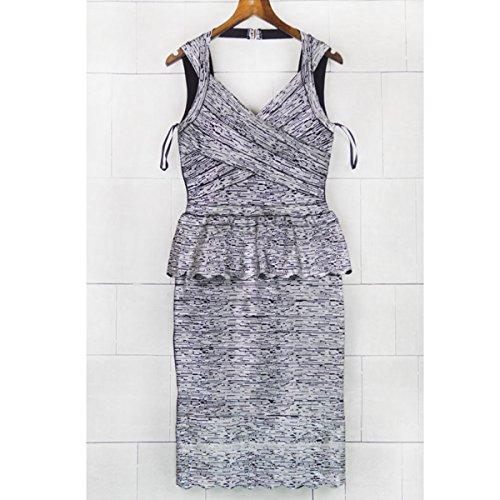 HLBCBG - Vestido - Sin mangas - para mujer gris