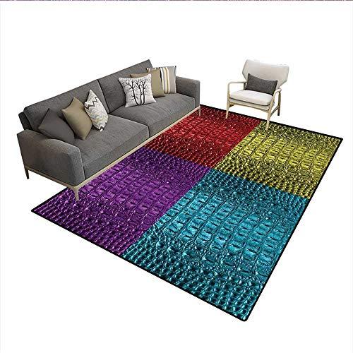 Crocodile Tassel - Carpet,Pop Art Crocodile Skin Leather Pattern Colorful Exotic Illustration,Area Silky Smooth Rugs,Purple Red Yellow 6'6