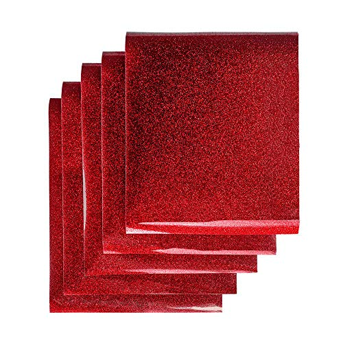 Red Glitter Heat Transfer Vinyl, Glitter Red Iron on Vinyl Heat Press Vinyl for T-Shirts 12