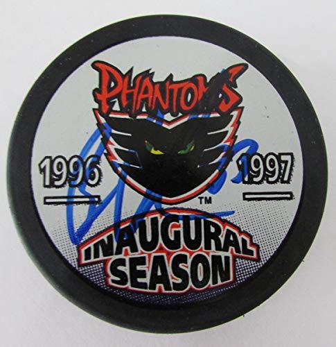 Boucher Signed - Brian Boucher Phantoms Signed Phantoms Inaugural Season Logo Puck PASS 144568