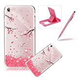 Clear Case for iPhone 6S Plus,Silicone TPU Cover for iPhone 6 Plus,Herzzer Luxury [Ultra Thin] Scratch Resistant [Pink Cherry Blossom Flower] Print Crystal Rhinestone Diamonds Soft TPU Gel Rubber Skin Cover for iPhone 6 Plus/6S Plus 5.5 inch + 1 x Free Pin