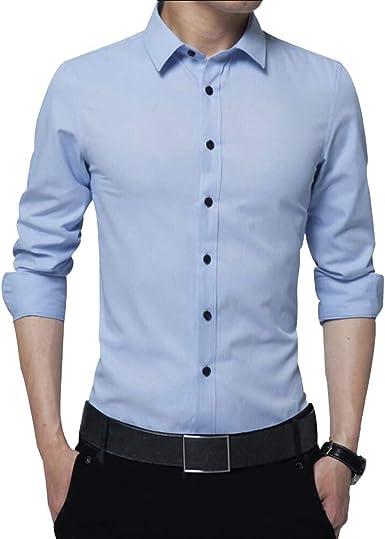 Irypulse Camisa de Hombres Corte Cuello Camisa de Planchado sin Arrugas Manga Larga clásico Slim Fit Seda de algodón Elástica Casual Formal Negocio para Hombre: Amazon.es: Ropa y accesorios
