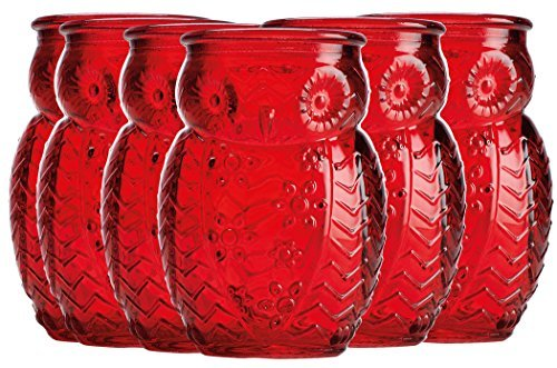 Home Essentials & Beyond 2066 Owl Shaped Shot Glasses 2.8 OZ Red Set Of 6 For Tequila Whiskey, Scoth And Vodka Or Even Mini Cocktails For Parties Dinners Or Any - Beyond Vodka