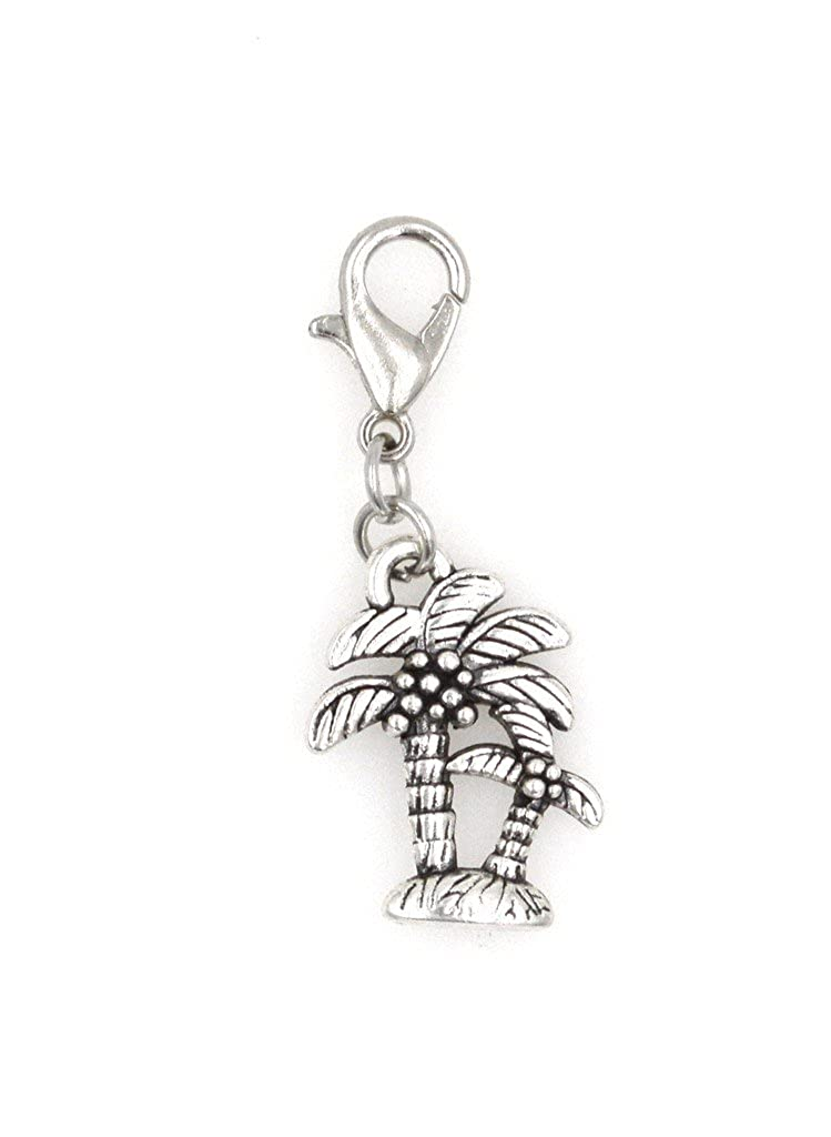 Its All About...You Palm Tree Stainless Steel Clasp Clip on Charm 74D