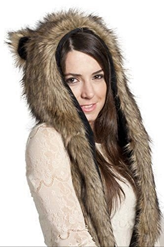 Grizzly Bear Costumes (Grizzly Bear Anime Faux Animal Hood Hoods Mittens Gloves Scarf Spirit Paws Ears)