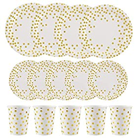 ALINK 150PCS Biodegradable Dots Paper Plates and Cups Set
