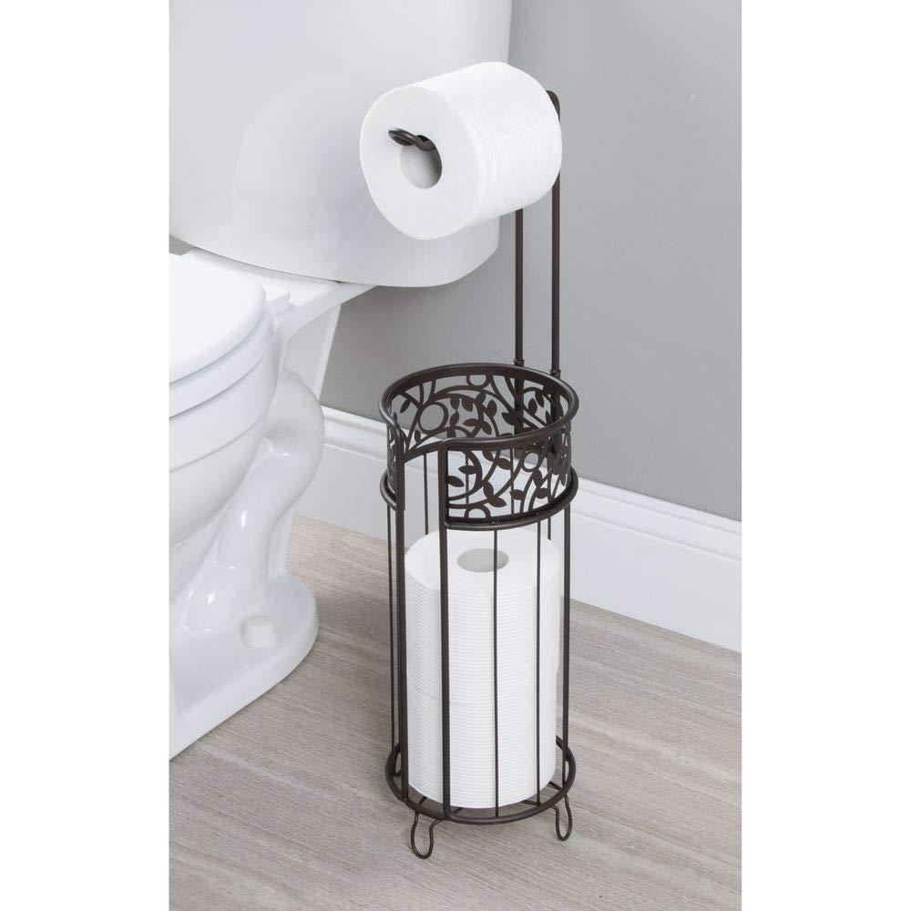 Comoda piantana bagno per carta igienica e 3 rotoli di scorta argento Elegante contenitore portarotolo carta igienica mDesign Porta carta igienica da terra
