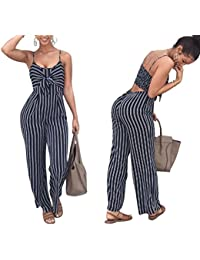 Women Spaghetti Strap Sleeveless Wide Leg Long Pants Cut Out Back Striped Casual  Jumpsuit Romper a46df9de4