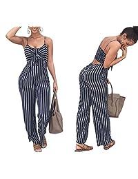 NANYUAYA Women Casual Strap Striped Long Pants Jumpsuit Romper Sleeveless Romper