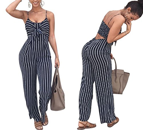 JINTING Women Spaghetti Strap Sleeveless Wide Leg Long Pants Cut Out Back Striped Casual Jumpsuit Romper Blue Medium