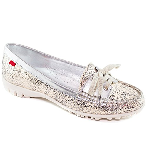 Marc Joseph New York Women's Fashion Shoes Liberty Golf Gipsy Silver With Lace Moccassin Size (Tan Womens Golf Shoe)