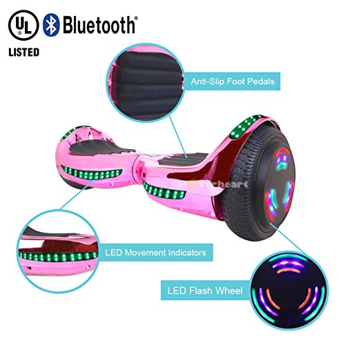 Hoverboard UL 2272 Certified Flash Wheel 6.5'' Bluetooth Speaker with LED Light Self Balancing Wheel Electric Scooter (Chrome Pink) by Hoverheart (Image #2)