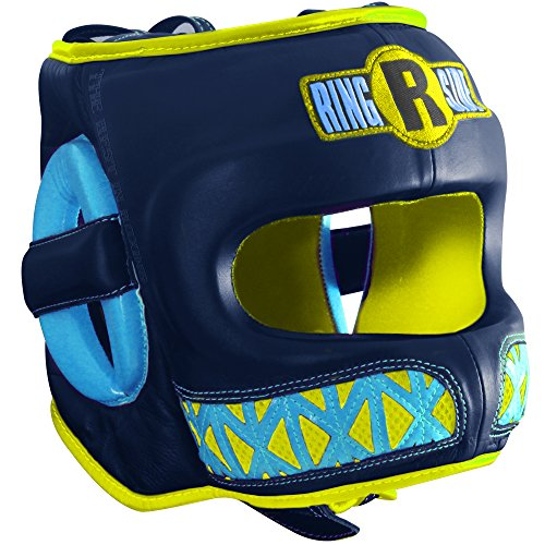 Ringside Youth Face Saver Headgear, Navy/Yellow, Large