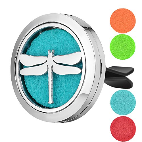 - Garden Charms 30mm Stainless Steel Car Air Freshener Locket Dragonfly Perfume Essential Oil Diffuser Locket Jewelry with Free Pads GCVA-597