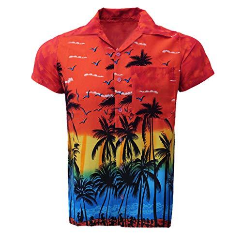 NIUQI Fashion Men's Casual Button Hawaii Print Beach