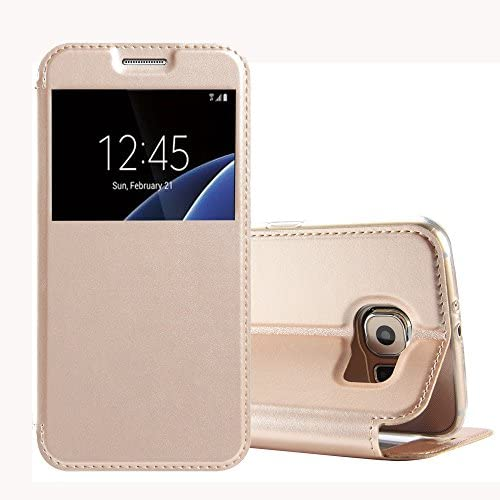 Galaxy S7 Flip Case, Tomplus S7 Case [Book Fold] Leather Galaxy S7 Cover [Flip Cover] with Fold able Stand, Leather Flip Window View case for Samsung Galaxy S7 (gold) Sales