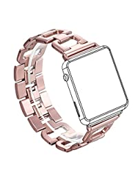 For Apple Watch Strap, Wearlizer D Type Stainless Steel Watch Band Replacement Wristband for iWatch Series 1 / Series 2 - 38mm Rose Gold