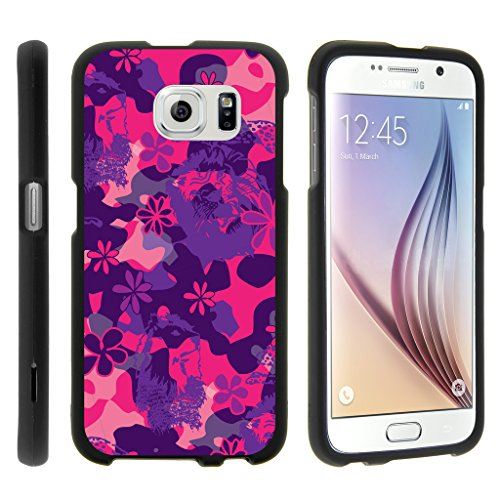 TurtleArmor | Samsung Galaxy S6 Case | G920 [Slim Duo] Slim Ultra Fitted Hard Cover Rubberized Matte Camouflage Case Design on Black - Pink Purple (Pink Purple Flower)