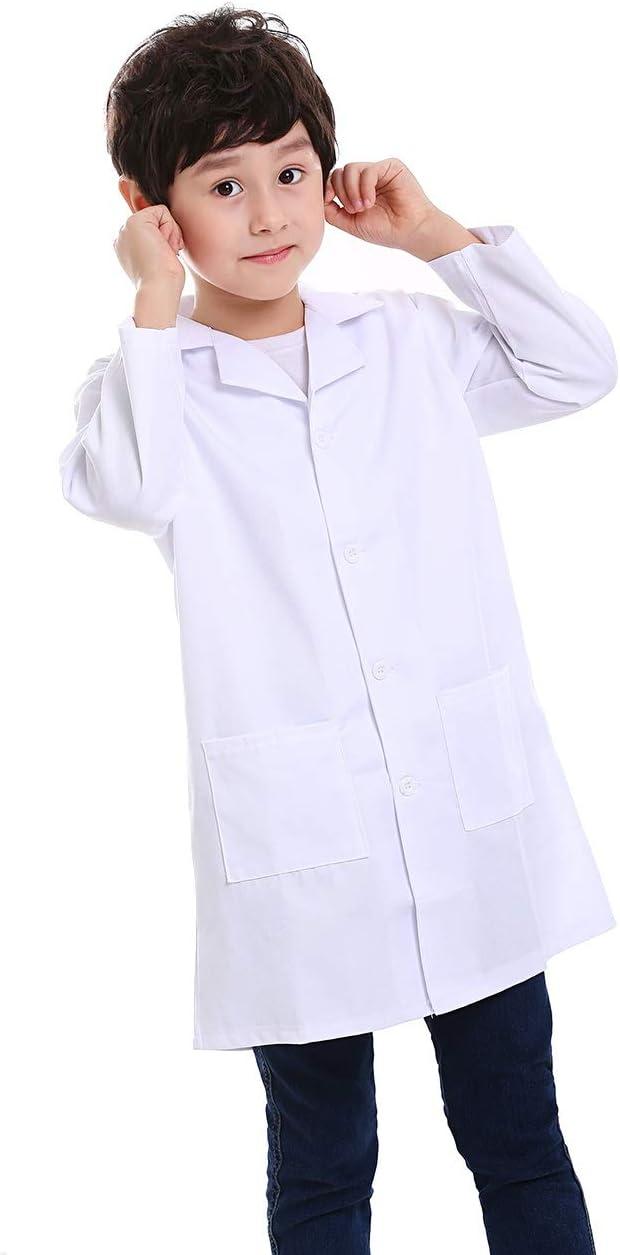 Top Tie Camici da Laboratorio Scrubs Bianca Bambino per scienziati o dottori White-4