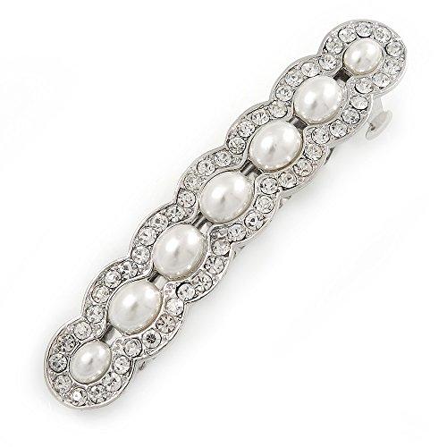 Bridal Wedding Prom Silver Tone Glass Pearl, Crystal Barrette Hair Clip Grip - 90mm W