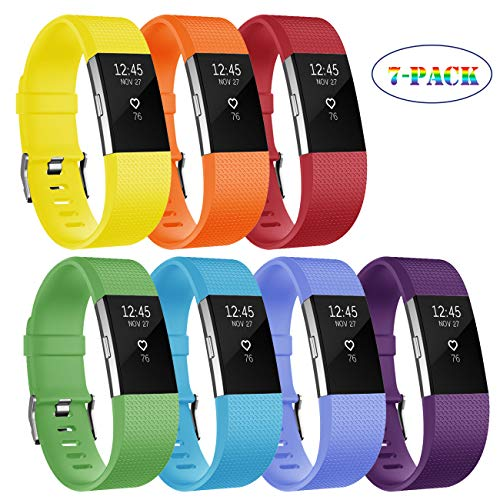 Fundro Compatible with Fitbit Charge 2 Bands, Soft Accessory Replacement Wristband Strap with Secure Metal Clasp for Fitbit Charge 2 (C# 7-Pack, Large (6.7
