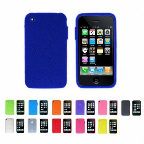 DEEP BLUE PUZZLE Apple iPhone 3G 3Gs 8GB 16GB 32GB Silicone Skin Case Cover + Free Screen Protector (Many Colors Available)