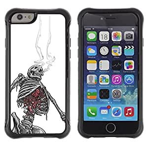 Suave TPU Caso Carcasa de Caucho Funda para Apple Iphone 6 PLUS 5.5 / Smoking Skeleton Black White Skull / STRONG