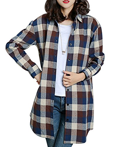 (Gihuo Women's Casual Mid-Long Style Classic Long Sleeve Plaid Button Down Shirt (Plus (Small, Coffee) )