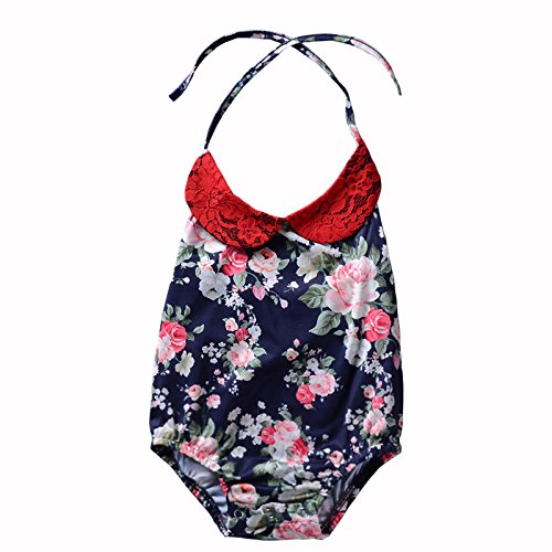 DiDaDo Newborn Toddler Girl Sleeveless Rompers Floral Printed Jumpsuit With Neck Strap For Best Fit Baby (Navy Blue, 6-12 Months) Cute Diaper Shirt