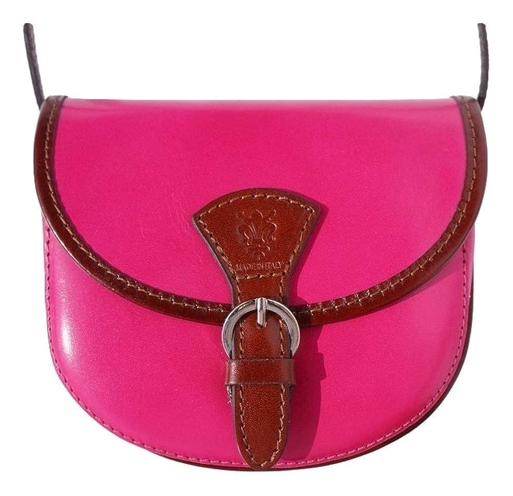 8bc69b978972 LaGaksta Mini Round Italian Leather Shoulder Crossbody Saddle Bag  Fuchsia-Brown  Handbags  Amazon.com