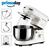 : Homeleader Power Stand Mixer, Food Mixer, Kitchen Electric Mixer with Double Dough Hook, Whisk, Beater, Splash Guard, 5-speed, 4.5 Quart Stainless Steel Bowl, White, 800W